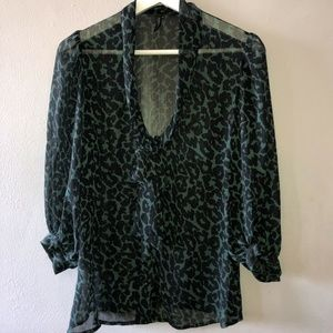 TOPSHOP Size 12 Top Sheer Tie Front Button Shirt